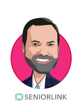 Main caricature of Thomas Riley, who is speaking at HLTH and is President and Chief Executive Officer at Seniorlink Inc.