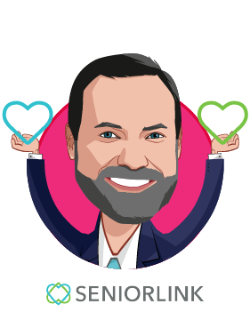 Overlay caricature of Thomas Riley, who is speaking at HLTH and is President and Chief Executive Officer at Seniorlink Inc.