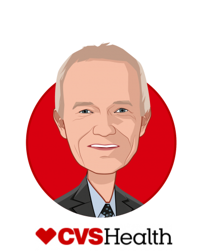 Main caricature of Troy Brennan, MD, who is speaking at HLTH and is EVP / CMO at CVS Health