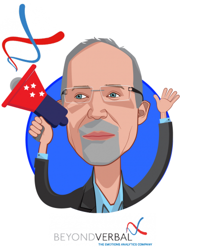Overlay caricature of Yuval Mor, who is speaking at HLTH and is Co-Founder & CEO at Beyond Verbal Communication Ltd.