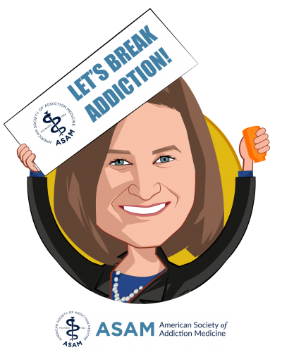 Overlay caricature of Kelly J. Clark, MD, MBA, DFAPA, DFASAM, who is speaking at HLTH and is President at American Society of Addiction Medicine