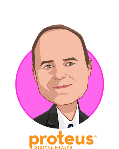 Main caricature of Andrew Thompson, who is speaking at HLTH and is Co-founder, President and CEO at Proteus Digital Health