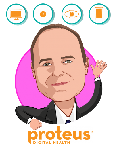 Overlay caricature of Andrew Thompson, who is speaking at HLTH and is Co-founder, President and CEO at Proteus Digital Health