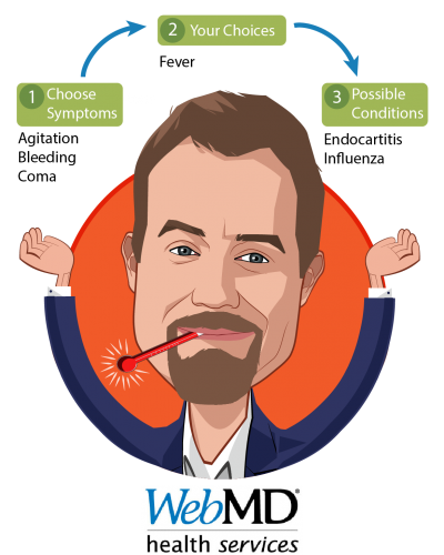 Overlay caricature of Ben Slocum, who is speaking at HLTH and is Chief Executive Officer at WebMD Health Services