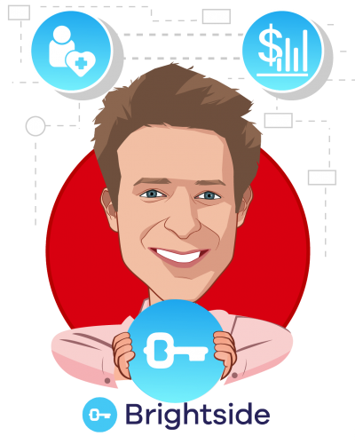 Overlay caricature of Callum King, who is speaking at HLTH and is CEO at Brightside