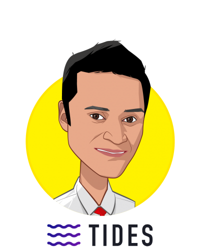 Main caricature of Dr. Chandra Duggirala MD, who is speaking at HLTH and is CEO at TIDES - P2P Health Insurance Network