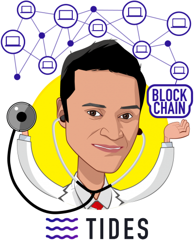 Overlay caricature of Dr. Chandra Duggirala MD, who is speaking at HLTH and is CEO at TIDES - P2P Health Insurance Network