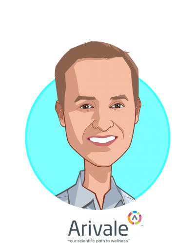 Main caricature of Clayton Lewis, who is speaking at HLTH and is Co-Founder and CEO at Arivale