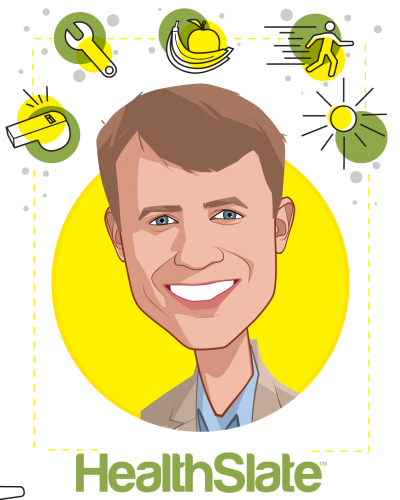 Overlay caricature of Dan Sheeran, who is speaking at HLTH and is CEO at HealthSlate