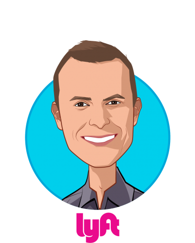 Main caricature of David Baga, who is speaking at HLTH and is Chief Business Officer at Lyft