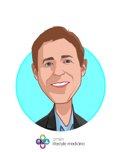 Main caricature of Dean Ornish, M.D., who is speaking at HLTH and is Founder, Ornish Lifestyle Medicine at Sharecare
