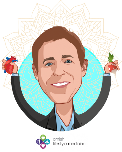Overlay caricature of Dean Ornish, M.D., who is speaking at HLTH and is Founder, Ornish Lifestyle Medicine at Sharecare
