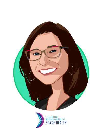 Main caricature of Dorit Donoviel, who is speaking at HLTH and is Director at Translational Research Institute for Space Health