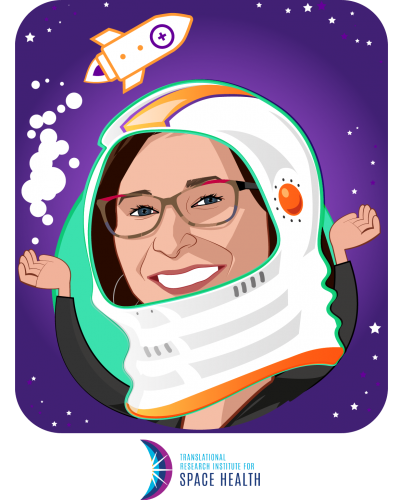 Overlay caricature of Dorit Donoviel, who is speaking at HLTH and is Director at Translational Research Institute for Space Health
