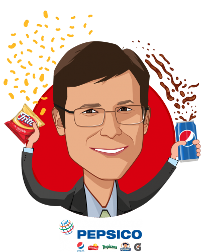 Overlay caricature of Erik Sossa, who is speaking at HLTH and is Vice President, Global Benefits & Wellness at PepsiCo, Inc.