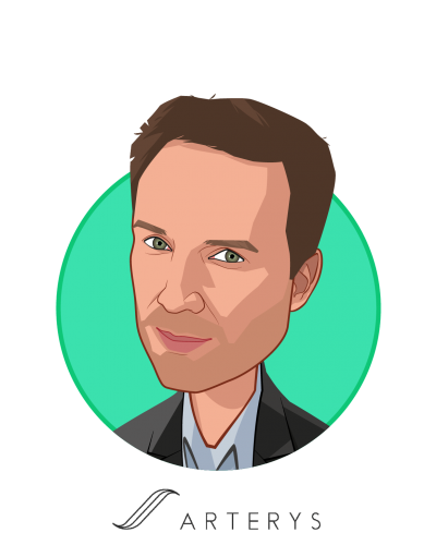Main caricature of Fabien Beckers, who is speaking at HLTH and is CEO & Co-Founder at Arterys