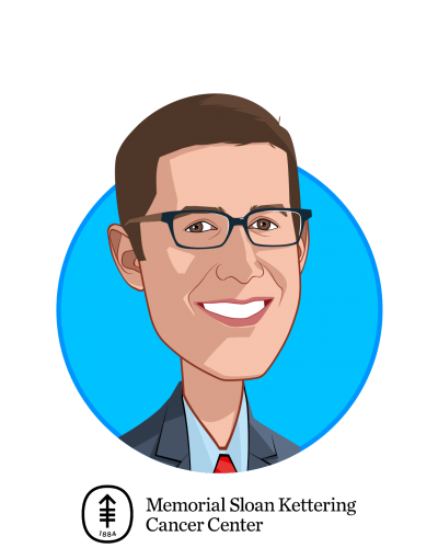 Main caricature of Gregory Raskin, MD, who is speaking at HLTH and is Vice President, Technology Development at Memorial Sloan Kettering Cancer Center