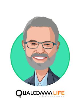 Main caricature of James Mault, MD, FACS, who is speaking at HLTH and is SVP & Chief Medical Officer at Qualcomm Life