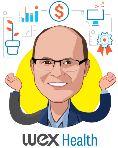 Overlay caricature of Jeff Bakke, who is speaking at HLTH and is Chief Strategy Officer at WEX Health