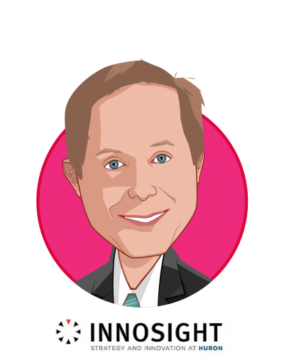 Main caricature of Jeff Gruen, MD, MBA, who is speaking at HLTH and is Chief Innovation Officer at Innosight