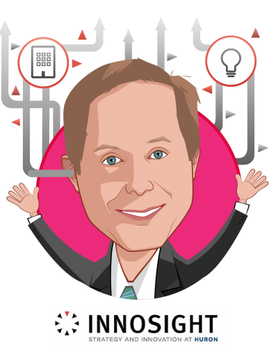 Overlay caricature of Jeff Gruen, MD, MBA, who is speaking at HLTH and is Chief Innovation Officer at Innosight