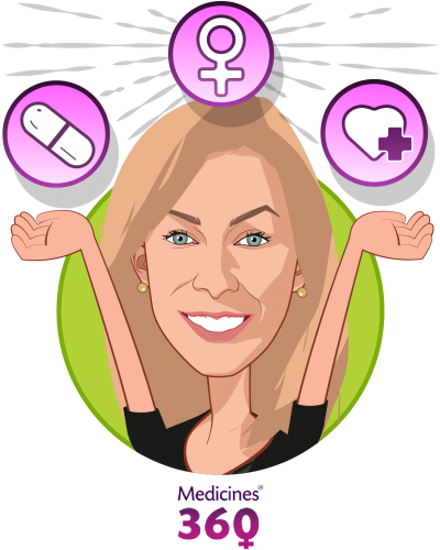 Overlay caricature of Jessica Grossman, MD, who is speaking at HLTH and is CEO at Medicines360