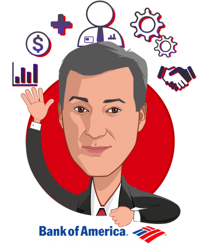 Overlay caricature of Jim Huffman, who is speaking at HLTH and is Head of Employee Benefits at Bank of America
