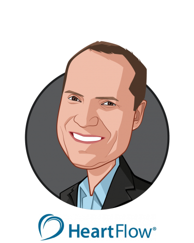 Main caricature of John H. Stevens, M.D., who is speaking at HLTH and is President & CEO at HeartFlow, Inc.