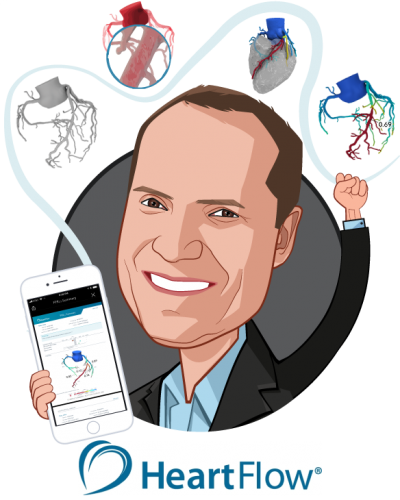 Overlay caricature of John H. Stevens, M.D., who is speaking at HLTH and is President & CEO at HeartFlow, Inc.