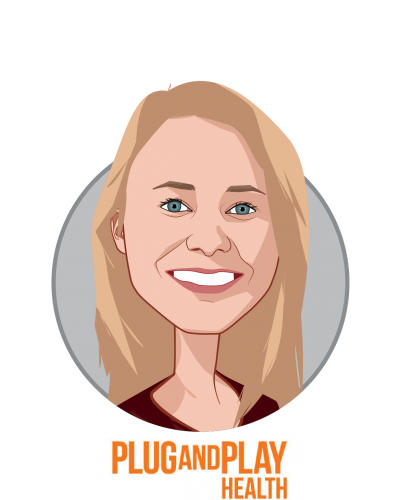 Main caricature of Julia Belaya, who is speaking at HLTH and is Director, Corporate Partnerships at Plug and Play Tech Center