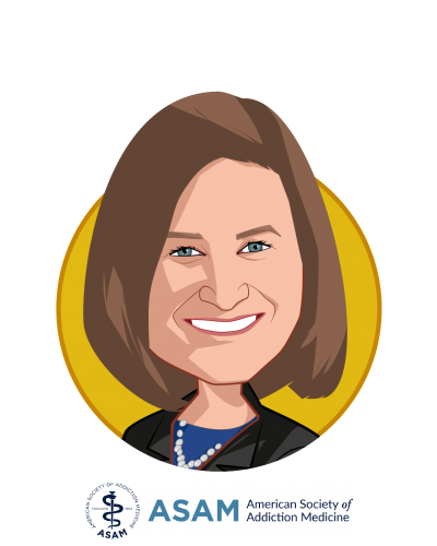 Main caricature of Kelly J. Clark, MD, MBA, DFAPA, DFASAM, who is speaking at HLTH and is President at American Society of Addiction Medicine
