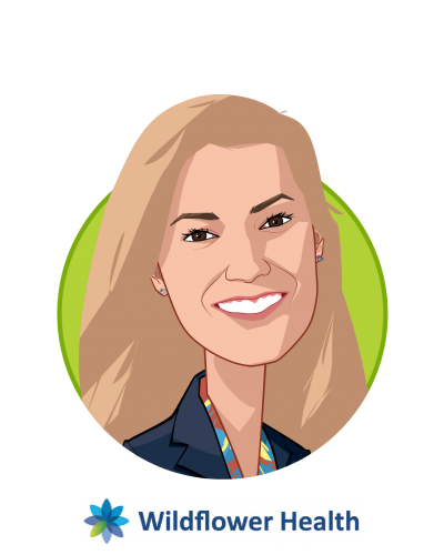 Main caricature of Laura Mackay, who is speaking at HLTH and is VP, Client Growth & Success at Wildflower Health