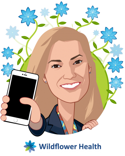 Overlay caricature of Laura Mackay, who is speaking at HLTH and is VP, Client Growth & Success at Wildflower Health