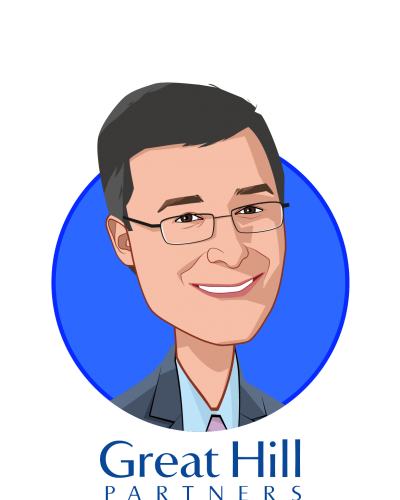 Main caricature of Mark Taber, who is speaking at HLTH and is Managing Partner at Great Hill Partners