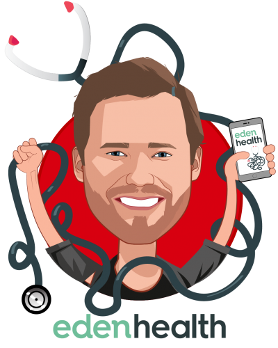 Overlay caricature of Matt McCambridge, who is speaking at HLTH and is Co-Founder and Chief Executive Officer at Eden Health