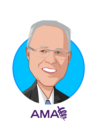 Main caricature of Michael L Hodgkins, MD, MPH, who is speaking at HLTH and is Chief Medical Information Officer at AMA