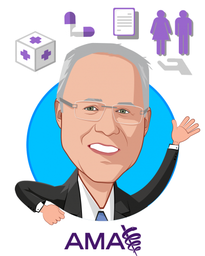Overlay caricature of Michael L Hodgkins, MD, MPH, who is speaking at HLTH and is Chief Medical Information Officer at AMA