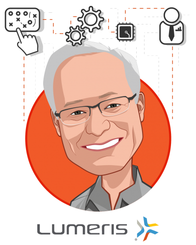 Overlay caricature of W. Michael Long, who is speaking at HLTH and is Chairman and Chief Executive Officer at Essence Group Holdings Corporation and Lumeris Corporation