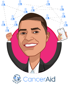 Overlay caricature of Nikhil Pooviah, who is speaking at HLTH and is Co-Founder & CEO at CancerAid