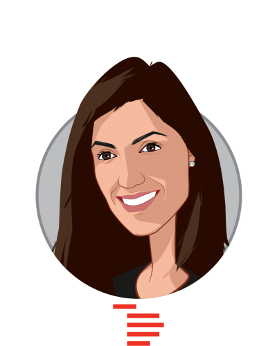 Main caricature of Nina Achadjian, who is speaking at HLTH and is Principal at Index Ventures