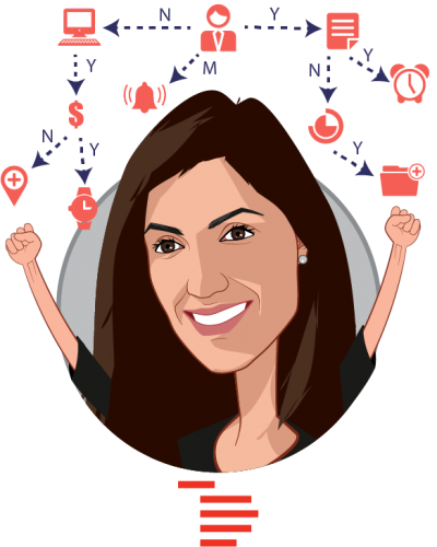 Overlay caricature of Nina Achadjian, who is speaking at HLTH and is Principal at Index Ventures