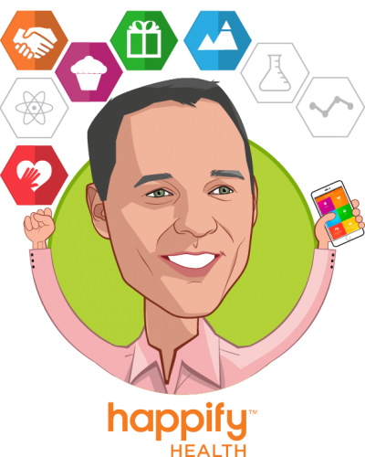 Overlay caricature of Ofer Leidner, who is speaking at HLTH and is Co-founder, President at Happify Health Inc.