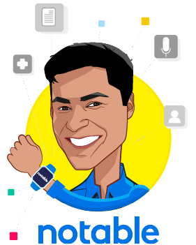 Overlay caricature of Pranay Kapadia, who is speaking at HLTH and is CEO and Co-Founder at Notable