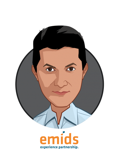 Main caricature of Praveen Soti, MD, MBA, who is speaking at HLTH and is President, Payer and Digital Solutions at emids