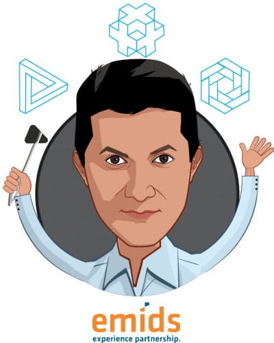 Overlay caricature of Praveen Soti, MD, MBA, who is speaking at HLTH and is President, Payer and Digital Solutions at emids