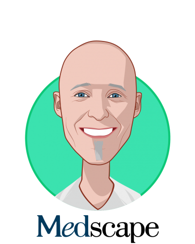 Main caricature of Rejean Rochette, who is speaking at HLTH and is Senior Vice President, Medscape Education at WEBMD