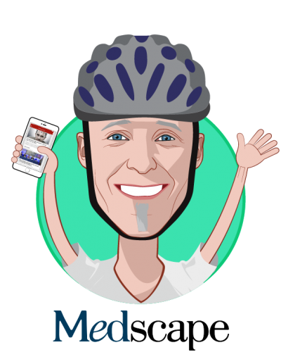 Overlay caricature of Rejean Rochette, who is speaking at HLTH and is Senior Vice President, Medscape Education at WEBMD