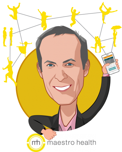 Overlay caricature of Rob Butler, who is speaking at HLTH and is Chief Executive Officer at Maestro Health