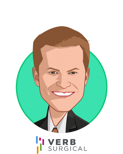 Main caricature of Scott Huennekens, who is speaking at HLTH and is President & CEO at Verb Surgical