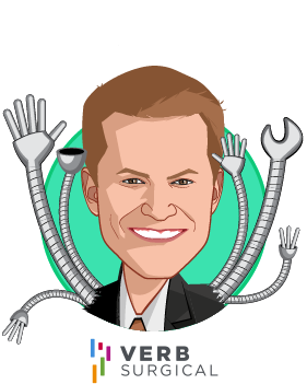 Overlay caricature of Scott Huennekens, who is speaking at HLTH and is President & CEO at Verb Surgical